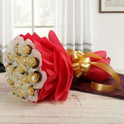 Hyderabad Gifts Delivery Ferrero Rocher Bouquet In Chocolate